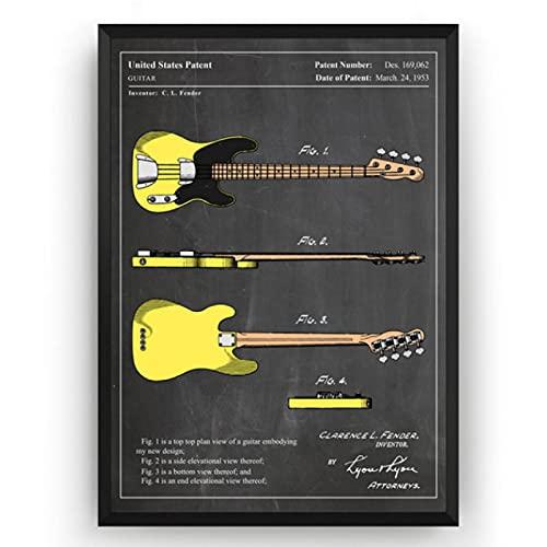 ZzSTX Vintage Fender Telecaster Bass Guitar 1953 Colourised Patent Blueprint Poster Canvas...