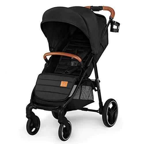 Kinderkraft kinderwagen GRANDE LX, buggy, ligpositie, wandelwagen, uitklapbare zonnekap, slaapstand, geveerde wielen, waterdicht materiaal, van 0 tot 3 jaar, zwart