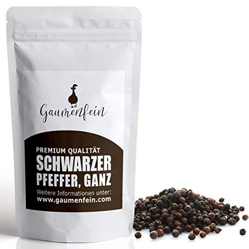GAUMENFEIN® Schwarzer Pfeffer Ganz - Ganze Pfefferkörner für Pfeffermühle und Mörser - 100% natürliche Premium Qualität - 250g