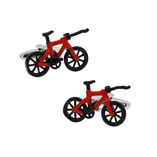 Lumanuby. 1par Hombres Modelado de Bicicleta de Carretera roja Creativa Gemelos Mangas Botones para Ocasiones de Negocios de Boda Size 1.5 * 2.5cm