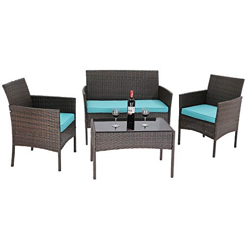 Furnimy 4 Pieces Outdoor Furniture Patio Sets Rattan Wicker Table...