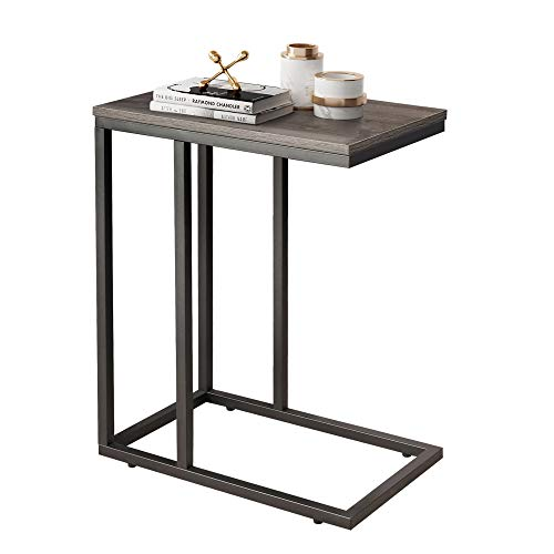 WLIVE Snack Side Table, C Shaped End Table for Sofa Couch and Bed, Gray Oak