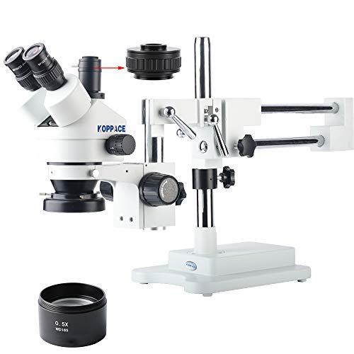 KOPPACE 3.5X-45X,Industrial Microscope,Trinocular Interface 0.5XCTV/1X CTV,Trinocular Stereo Microscope,Dual arm Bracket,WF10X Eyepieces,Includes 0.5X Barlow Lens