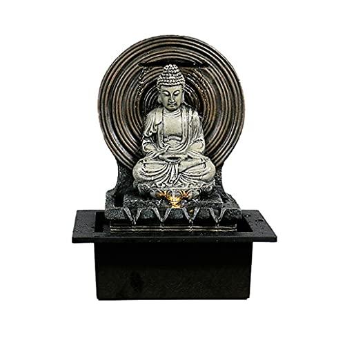 YC electronics Top Fuentes Fuentes mesa de interior cubierta truco fuente de escritorio de Buda estatua de la fuente Multicolor