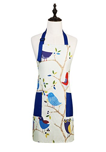 Cute Cartoon Pattern Adjustable Kitchen Cooking Apron with 2 Pockets for Women and Men, Bird
