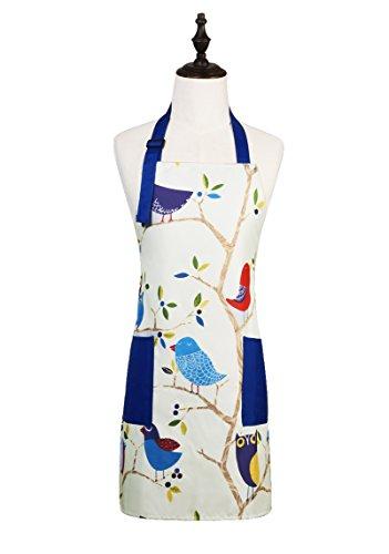 Pájaros en árbol dibujos animados patrón ajustable cocina cocinar delantal con 2bolsillos para las mujeres y hombres, color azul