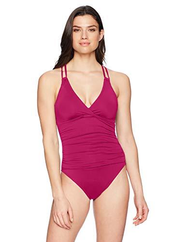 La Blanca Women's Island Goddess Underwire Double Strappy Back One Piece Swimsuit, Wine, 14