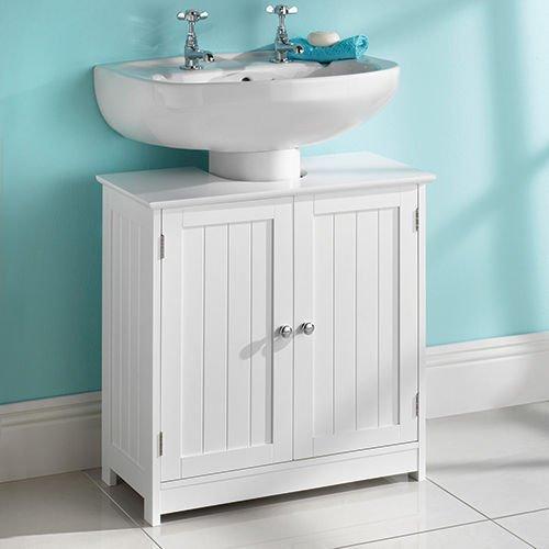 Mobiletto da bagno, sottolavabo in legno bianco
