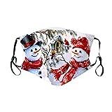 Unisex Mundschutz mit Motiv Weihnachten Schneemann Lustig Mund und Nasenschutz Waschbar Wiederverwendbar Cartoon 3D Motorrad Multifunktionstuch Halstuch Bandana für Herren Damen (2)