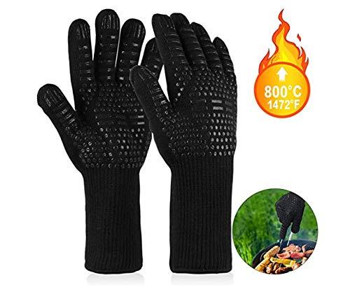 CIDCIJN Grillhandschuhe hitzebeständig bis zu 800°C, 1 Paar BBQ Handschuhe Ofenhandschuhe Silikon rutschfeste Backhandschuhe Kochenhandschuhe, Extra Lang Zum BBQ Grillen, Backen, Kochen, Feuerplatz