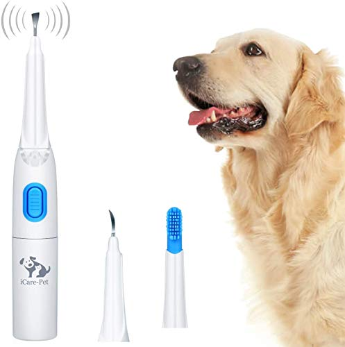 Ultrasonic Dog Tartar Cleaner Electric with 3 Clean Head, Stainless Tooth Scaler Scraper and Silicone Toothbrush, LED Light, Clinic or Household Dental Scaler Care Tools Kit for Dogs Cats