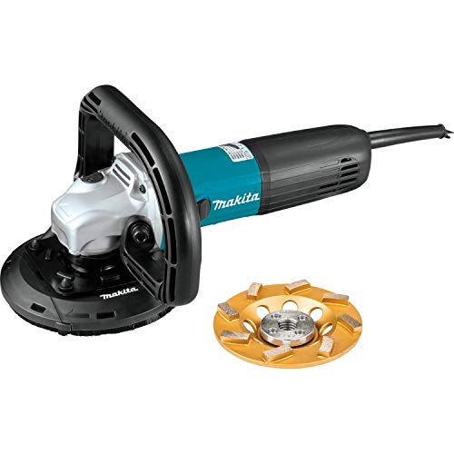 Makita PC5010CX1 5' SJSII Compact Concrete Planer with Dust Extraction Shroud and Diamond Cup Wheel
