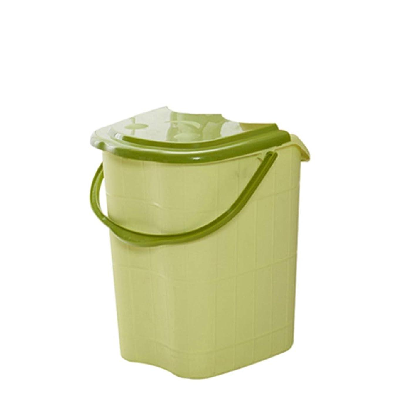 ぎこちない郡メキシコBB- ?AMT高さ特大マッサージ浴槽ポータブルふた付きフットバスバケット熱保存デトックススパボウル 0405 (色 : 緑, サイズ さいず : 44*42*53cm)