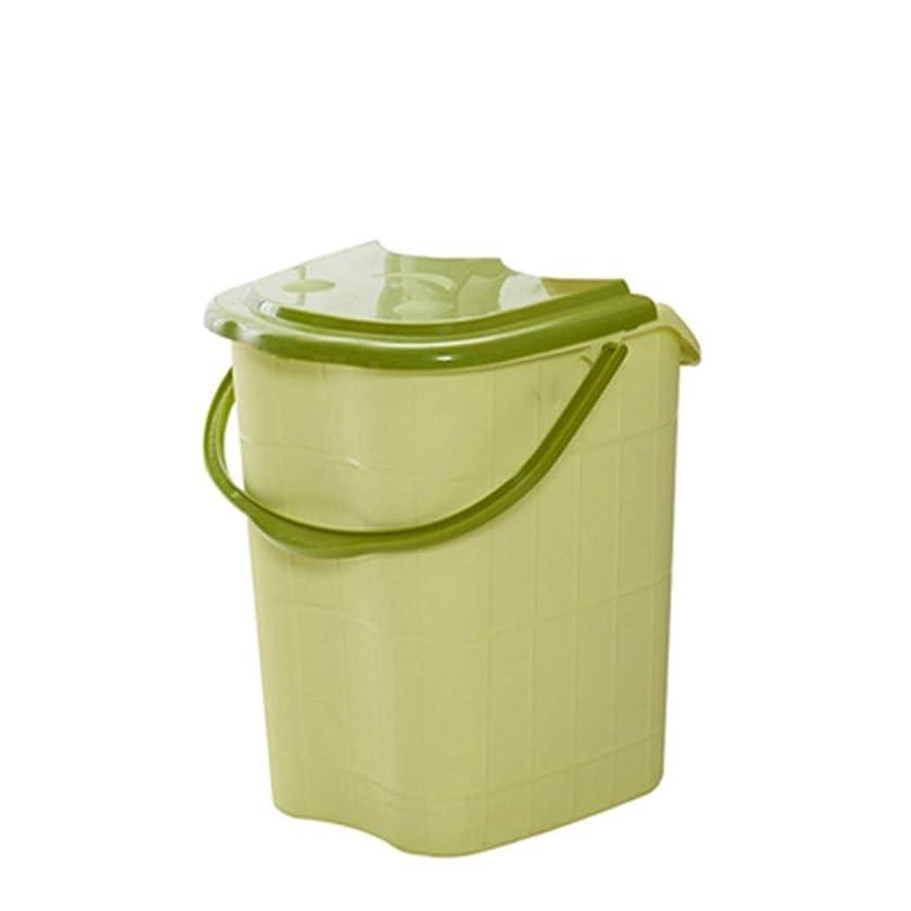 カーテン省流BB- ?AMT高さ特大マッサージ浴槽ポータブルふた付きフットバスバケット熱保存デトックススパボウル 0405 (色 : 緑, サイズ さいず : 44*42*53cm)