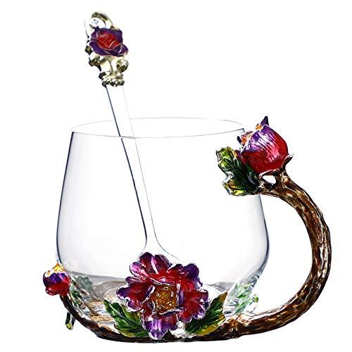VYEKL Farbe Blume Teetasse Haushalt bleifrei hitzebeständige Glas Tee Milch Tasse mit Löffel 320ml 2 Packungen