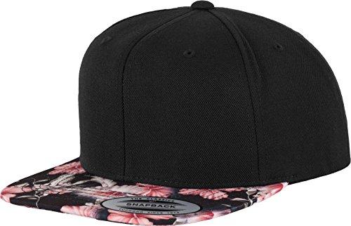 Yupoong Flexfit Unisex Kappe Floral Snapback 2-Tone Cap, blanko Cap mit geradem Schirm mit Blumen-Muster, One Size Einheitsgröße für Männer und Frauen