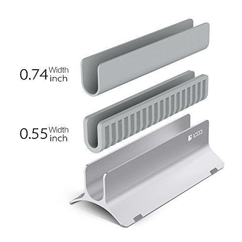 Vertical Laptop Stand, LOCA Aluminium Desktop Stand for Apple MacBook, notebooks (Silver) Photo #7