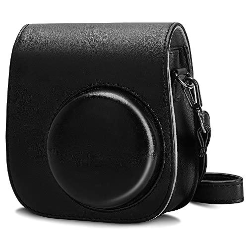 Cpano PU Leder Kameratasche für Fujifilm Instax Mini 11 Sofortbildkamera mit verstellbarem Riemen und Tasche (Schwarz)