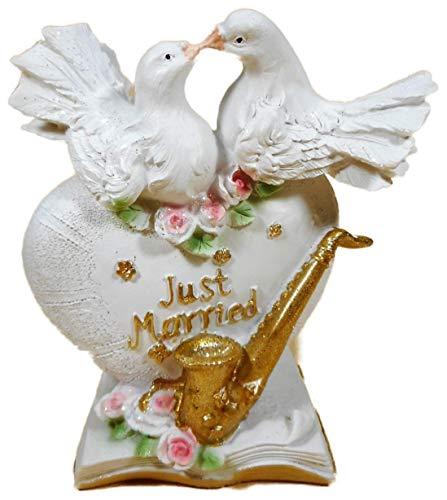 N / A Hochzeit Spardose 16 x 13 cm Just Married Taube Herz Saxophon Liebe Sparbüchse Figur Deko 6309