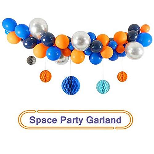 Further 63 Stück Space Party Ballon Set Enthalten Schwarz Orange Blau Silber Latex Luftballons, Für Halloween Day Party Geburtstag Dekorationen