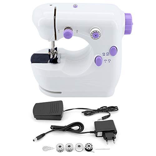 ShawFly Máquina de coser portátil para el hogar Mini máquina de escritorio multifuncional automática con superficie eléctrica pequeña y máquina de coser ligera, pedal manual de doble uso