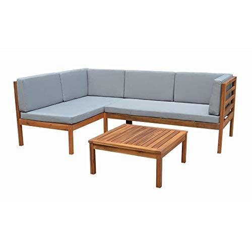 OUTLIV. Odense Loungegruppe in L-Form 3-teilig Akazienholz/Polyester in Teaklook und Kissenbezug in Hellgrau Outdoor Gartenlounge Set für 4 Personen