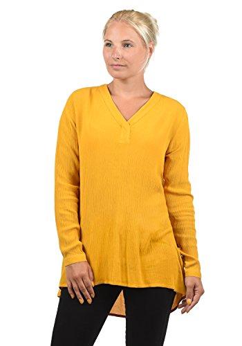 BlendShe Creole Damen Tunika Bluse Langarm Mit V-Ausschnitt, Größe:M, Farbe:Golden Yellow (20525)