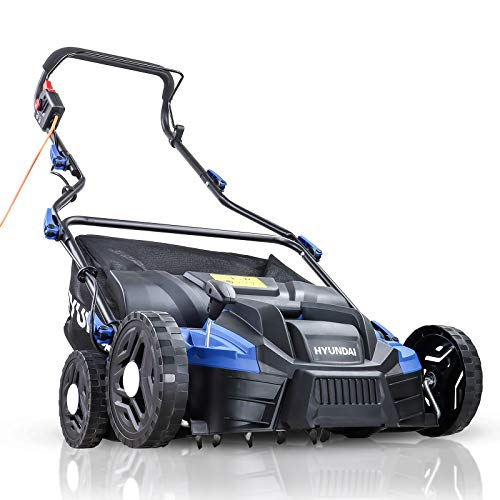 Hyundai 2 in 1 Lawn Scarifier, 1500W Electric Lawn Aerator, 3 Year Manufacturer Warranty, 5 Easy Adjustable Height Settings, Large 36cm Working Width & 45L Grass Bag, 10m Power Cable, Blue