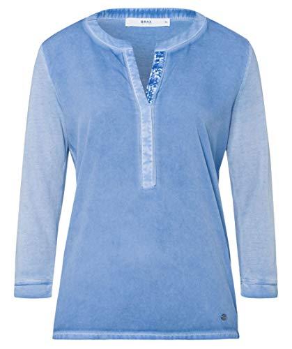 BRAX Damen Style Clarissa Shirt Bluse Baumwollmix Sweatshirt, Sky Blue, 36
