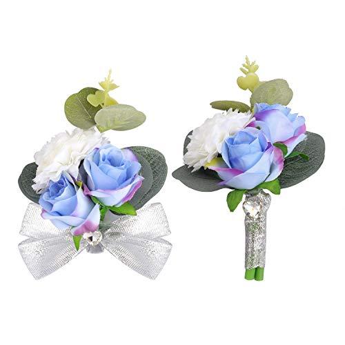 Peng Haiyunfei Dama de Honor Boda muñeca Flor Ramillete Nupcial Pulsera elástica Ramillete Boda Fiesta de Balonmano Volver a la Escuela Mano decoración de Flores (Conjunto de 2 Piezas Azul)