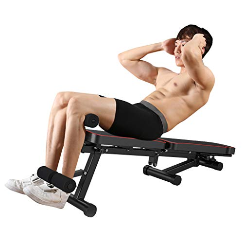 Adjustable Weight Bench, Utility Barbell Lifting Press Exercise Dumbbell Bench, Portable Folding Home G-ym Strength Training Flat Incline Decline Barbell Bench Sit Up Abs Benchs (Black)