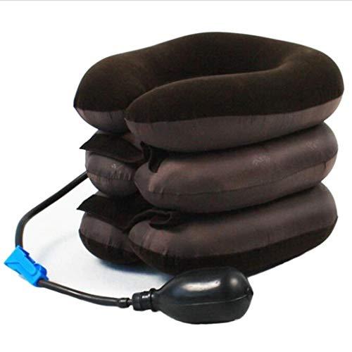 Dispositivo de tracción Cervical Inflable de Tres Capas Hogar Cuello Almohada Cuello Estiramiento Cuello Soporte Reposacabezas Negro (Color : Black)
