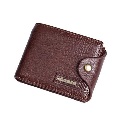 Erfhj Kleine man portemonnee, solide munt portemonnee rits, lederen merk mannen portemonnee, korte bi-vouw portemonnee, kaarthouder, standaard portemonnee mannelijke