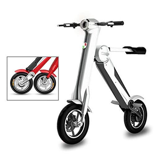 Mini Coche Eléctrico Plegable Batería De Litio para Adultos Bicicleta De Dos Ruedas Portátil Batería De Viaje Coche Iluminación LED (Puede Soportar 180 KG Grey