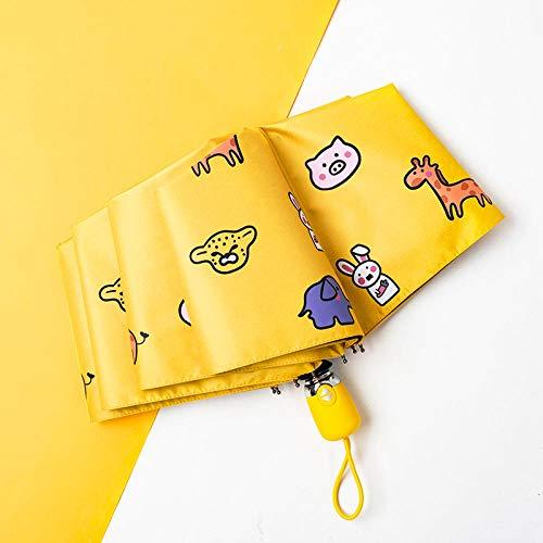Pencil Regenschirm Ultraleichter Tragbarer Sonnenschirm Zum Mitnehmen Leicht & Kompakt Windfest Stabiler Taschenschirm Voll Automatischer Klein Leicht Double Layer Winddicht@Dreifachautomatik Gelb