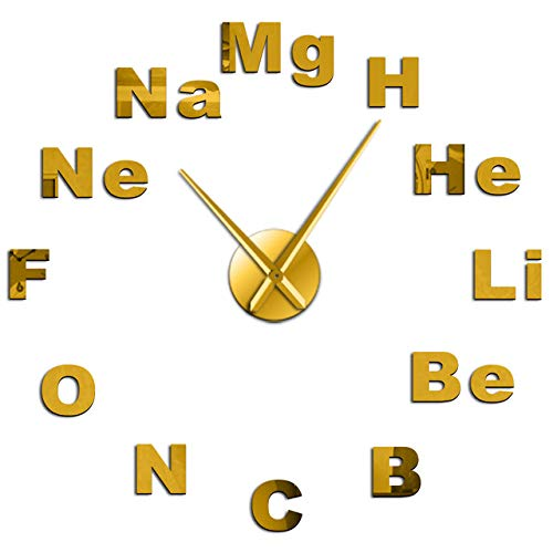 HIDFQY Periodensystem DIY Riesen Wanduhr Chemie Wissenschaft Spiegelaufkleber Rahmenlose stumme Uhr Klassenzimmer Klassenzimmer Einfache Dekoration 37 Zoll Gold