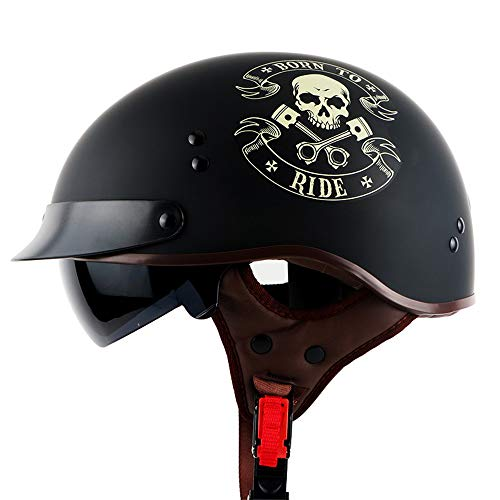 MTCTK D.O.T zertifizierter Retro-Motorrad-Halbhelm mit eingebautem Spiegel Oldtimer-Motorradhelm Elektrofahrrad-Sicherheitshut,C,L