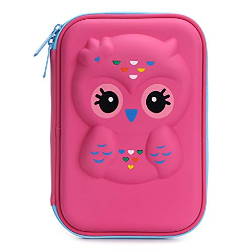 BTSKY Cute Owl Hard Shell Pencil Case- Large EVA Colored Pen Holder Box With Compartments Girls Cosmetic Pouch Bag Stationery Organizer (Red Owl)