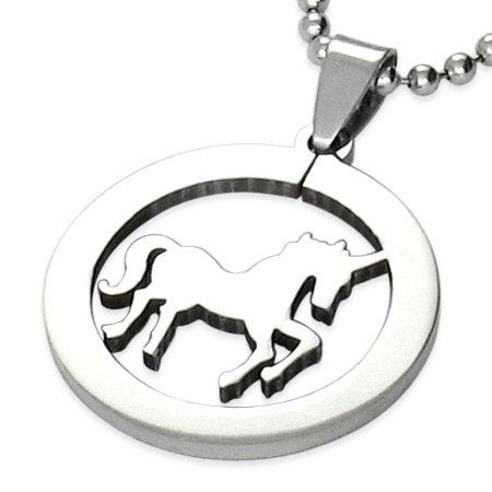 Roestvrij stalen eenhoorn/paard Chinese dierenriem teken cirkel hanger