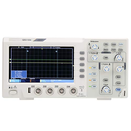 Osciloscopio digital Eujgoov, SDS1104 Osciloscopio de 4 canales con pantalla LCD de 7 pulgadas Ancho de banda de 100 MHZ Frecuencia de muestreo de 1 GS/S 110 V-240 V(EU plug)