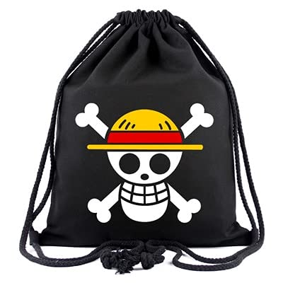 One Piece Anime ONE PIECE Monkey D. Luffy cosplay mochilas negras mochila escolar hombre mujer linda caricatura lona bolsa con cordón bolsa para ordenador portátil