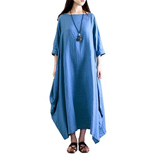 Romacci Damen Kleid Solide Baumwolle Tasche Rundhalsausschnitt Lose Baggy Vintage Maxi Kleid, Blau, 5XL