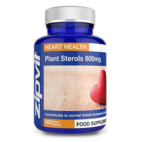 Plant Sterols 800mg, 360 Vegan Tablets. UK Manufactured. Vegetarian Society Approved.