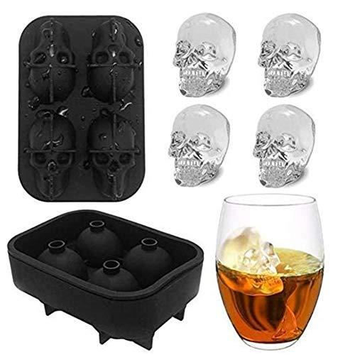 Bandeja 3D Cráneo Del Cubo De Hielo Con Tapa, De Silicona Cubo De Hielo Moldes Cafetera, Congelador Bandeja De Whisky, Whisky, Cocktail Glasses (2 Paquetes),Negro,2 packs