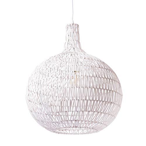 Lussiol 250267 - Lámpara de techo (mimbre, 60 W, 44 x 52 cm), color blanco