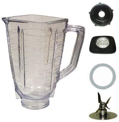 5 Cup, Square Top Plastic Blender Jar, Set With Blade Fits Oster Blender