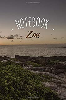 Notebook Zen: Sunset Ocean Cliff with Inspirational Yoga Quote, Wide Ruled 110 pages (6.14