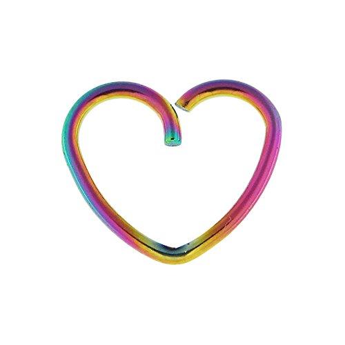 Regenbogen eloxiert Herz 18 Gauge 316L chirurgischer Stahl Knorpel einzelne Schließung Ring Helix Daith Piercing