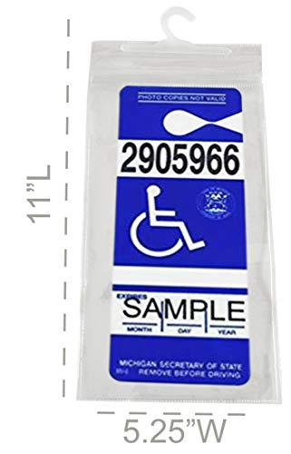 """HOME-X Set of 3 Handicap Placard Protector with Hanger, Permit Holder-Disabled Parking Permit Holder with Larger Hook-Clear-11"""" L X 5 ¼"""" W Photo #6"""