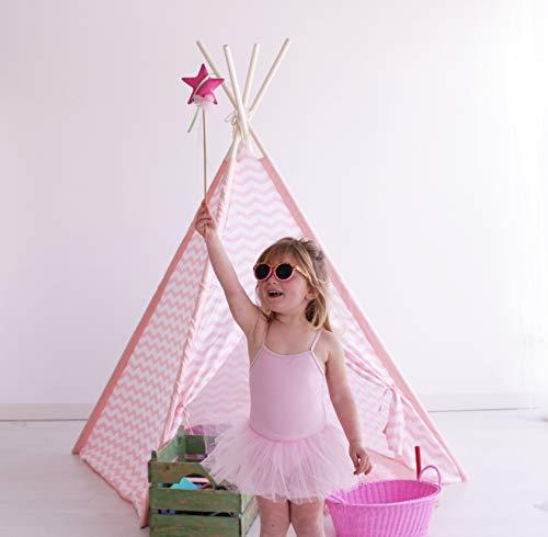 Kiddus Tienda Tipi Juego simbólico decoración habitación Infantil niños Blanco y Rosa Estilo nórdico KI60121